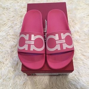3f3cc847a8b Salvatore Ferragamo Shoes - Ferragamo Pink Gancini Groove Pool Slides  Sandals